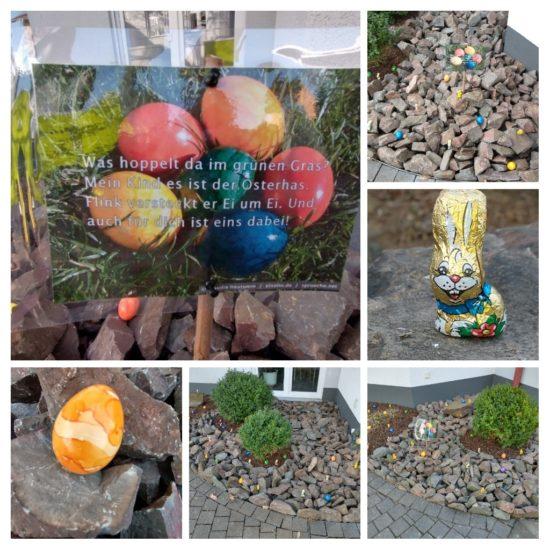 Collage mit Ostereiern und Schokohasen vor dem Büro von Invema